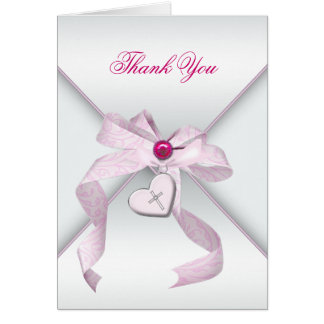 Merci croisé rose de baptême de baptême cartes de vœux