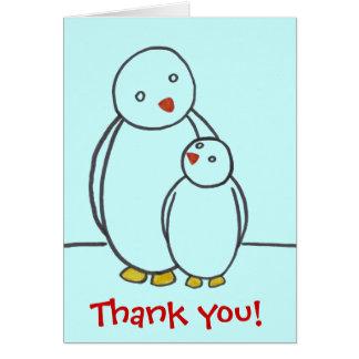 Merci d'amour de parent de pingouin cartes de vœux