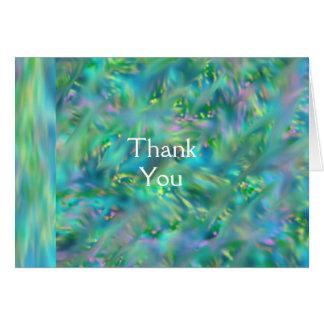Merci dans des bourgeons de carte de voeux de note