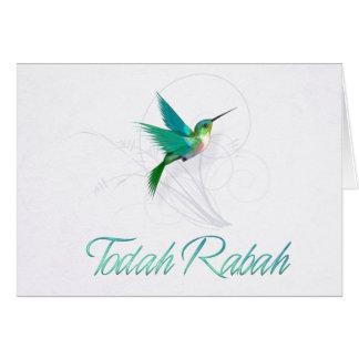 Merci dans le colibri hébreu de ~ de Rabah de Cartes