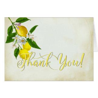 Merci d'aquarelle de citrons gais et de fleurs cartes de vœux