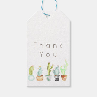 Merci d'aquarelle du jardin | de cactus étiquettes-cadeau