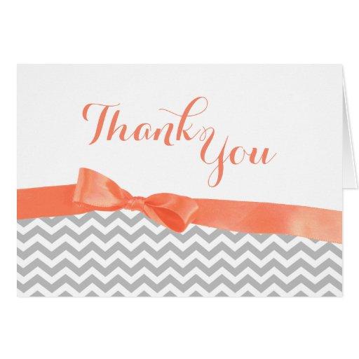 Merci d'arc de zigzag gris et de corail cartes