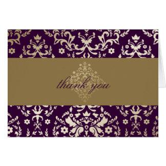 Merci d'aubergine d'or de la damassé 311-Dazzling Cartes De Vœux
