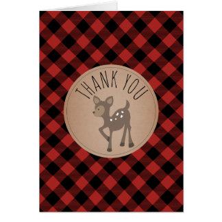 Merci de baby shower de cerfs communs de plaid de cartes