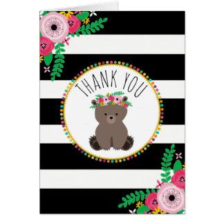 Merci de baby shower d'ours de rayures de Boho Cartes