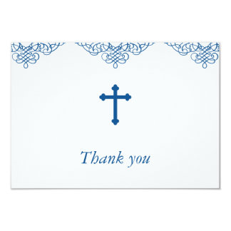 Merci de baptême/baptême de garçons bleus carton d'invitation 8,89 cm x 12,70 cm