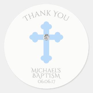 Merci de baptême croisé de bleus layette/garçon de sticker rond