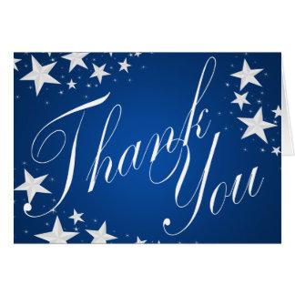 Merci de bleu de saphir d'étoiles cartes de vœux