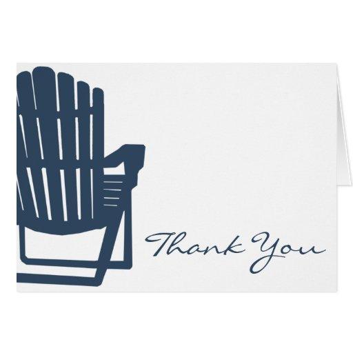 Merci de bleu marine de chaise d'Adirondack Cartes De Vœux
