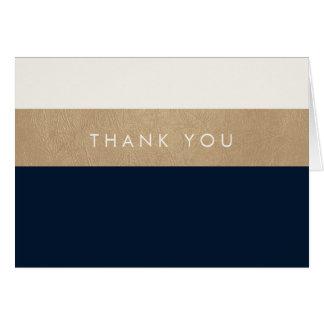 Merci de bleu marine de cuir et d'or cartes