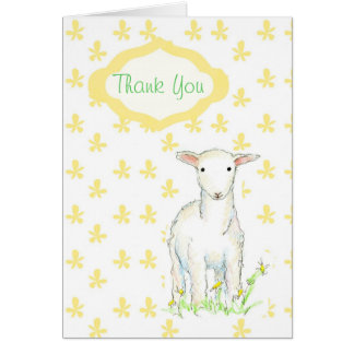 Merci de cadeau de baby shower d'agneau cartes