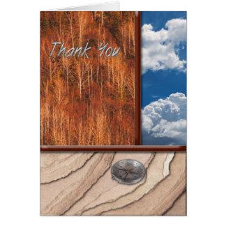 Merci de ciel d'arbres de roche carte de vœux