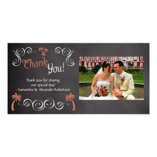 Merci de corail de mariage de plage de manuscrit cartes de vœux avec photo