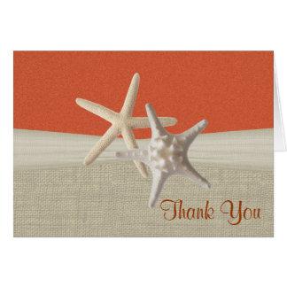 Merci de corail de toile de jute et d'étoiles de cartes de vœux