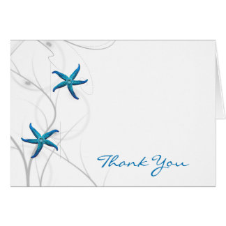 Merci de corail d'étoiles de mer bleues et cartes de vœux