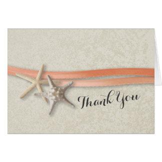 Merci de corail d'étoiles de mer et de ruban cartes de vœux
