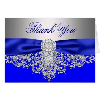 Merci de diamant d'argent de bleu royal cartes