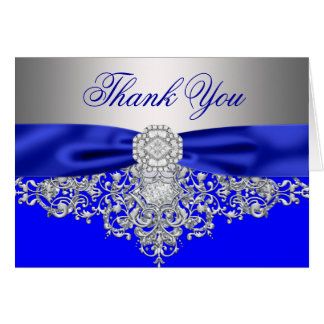 Merci de diamant d'argent de bleu royal cartes de vœux