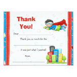 Merci de fête d'anniversaire de super héros faire-parts