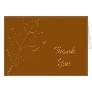 Merci de feuille de chêne de chute cartes de vœux