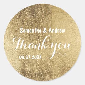Merci de luxe de mariage de feuille d'or de faux sticker rond