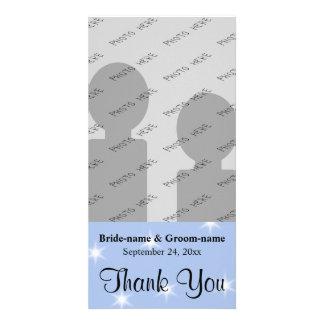 Merci de mariage dans bleu-clair avec les étoiles  modèle pour photocarte