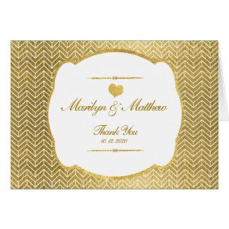 Merci de mariage de cadre d'or de motif de Chevron Carte De Vœux
