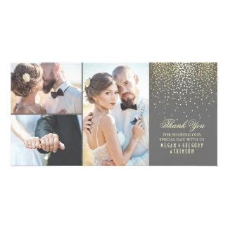 Merci de mariage de charme de confettis d'or photocartes personnalisées