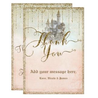 Merci de mariage de château de livre de contes de carton d'invitation 8,89 cm x 12,70 cm
