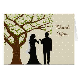Merci de mariage de chêne de jeunes mariés cartes de vœux