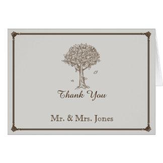 Merci de mariage de croquis de chêne cartes de vœux