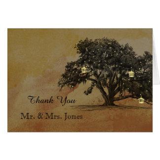 Merci de mariage de lanterne de chêne de chute cartes de vœux