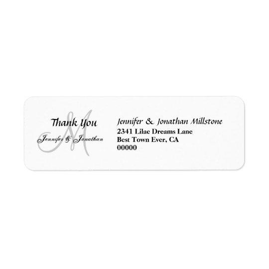 Merci de mariage de monogramme de mariage étiquettes d'adresse retour