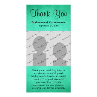 Merci de mariage de motif chiné par vert cartes de vœux avec photo