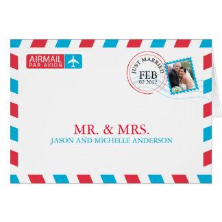 Merci de mariage de par avion cartes de vœux