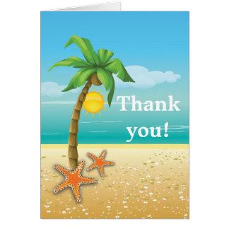 Merci de mariage de plage de palmier et d'étoiles cartes de vœux