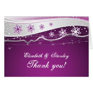 Merci de mariage d'hiver de gris pourpre et cartes de vœux