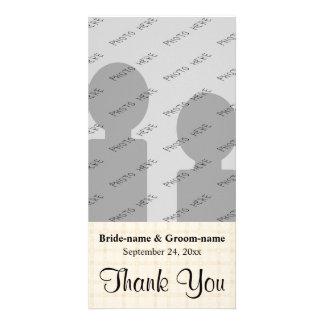 Merci de mariage, en contrôle beige et texte noir photocarte