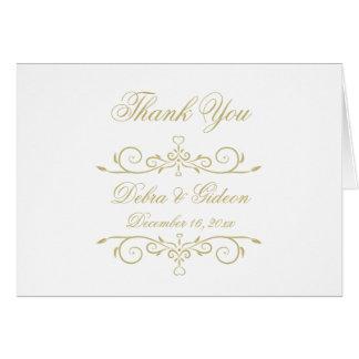 Merci de monogramme de blanc élégant et d'or cartes