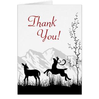 Merci de montagne de couples de cerfs communs de cartes de vœux