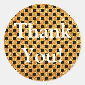 Merci de pois de noir de scintillement d'or sticker rond