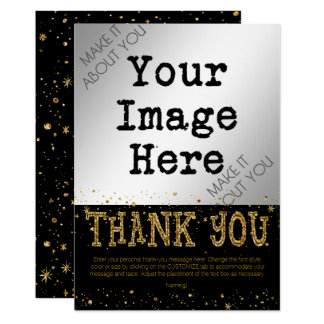 MERCI de scintillement de noir et d'or Carton D'invitation 12,7 Cm X 17,78 Cm