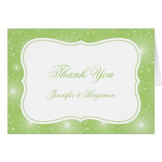 Merci de Starbursts de vert et de blanc de chaux Cartes De Vœux
