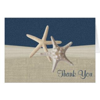 Merci de toile de jute et d'étoiles de mer de cartes de vœux
