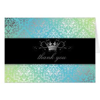 Merci de turquoise et de chaux de la damassé carte de vœux