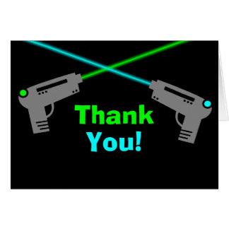 Merci de vert bleu d'étiquette de laser cartes de vœux