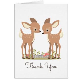 Merci doux de cadeau de bébé de jumeau de cerfs cartes de vœux