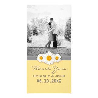 Merci doux de mariage de marguerites jaunes carte avec photo