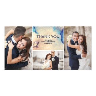 Merci élégant de mariage d'aquarelles vintages carte